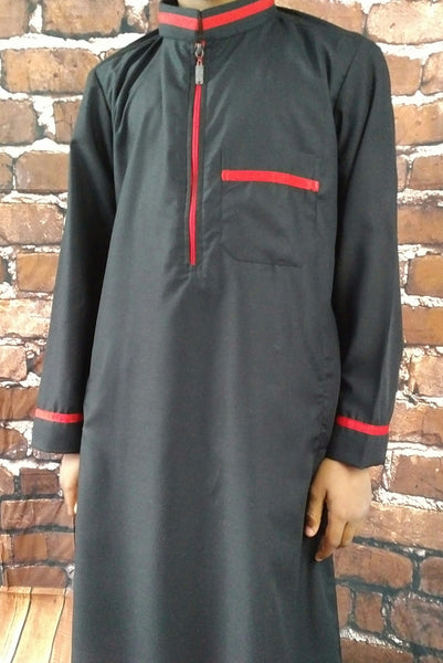 MuslimChild.ca Black Bird – Youth Black Zippered Collared Thobe with Red Coloured Accents- Canada , ships worldwide , quality, affordable, designer thobes or jubbas. Fits boys, teens and men sizes 42-60xl