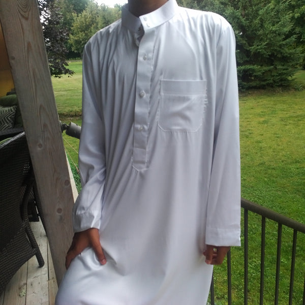 MuslimChild.ca Classic – White Thobe with Button Collar (no cuffs) - Canada , ships worldwide , quality, affordable, designer thobes or jubbas. Fits boys, teens and men sizes 42-60xl