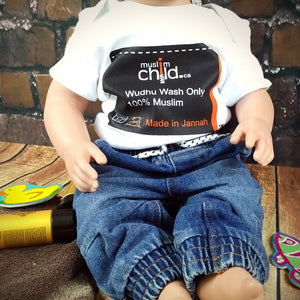 Muslim Child - Wudhu Wash - Made In Jannah™ Clothes Tag – Long & Short Sleeve Onesie  MuslimChild.ca Muslim baby clothes for ages 3 months to 14 years old. Funny tshirts, funny onesies, sleepers and onesies. Muslim children's appeal, Islamic wear, Muslim parents, Muslim Children.