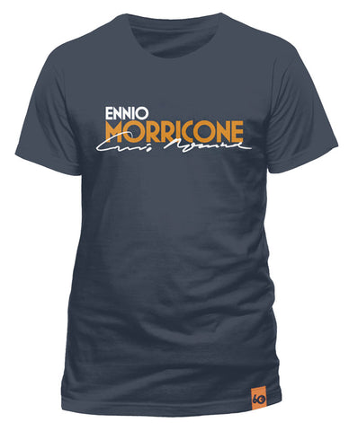 Ennio Morricone - Logo Signature Mens Denim Blue T-Shirt