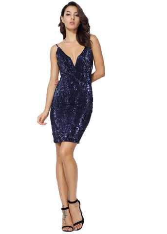 Dark Blue V Neck Elastic Sequin Halter Bodycon Mini