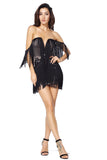 Black Slash Neck Tassel One Piece MIni