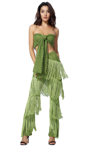Green Lace Strap With Ruffle Tassel Two Piece