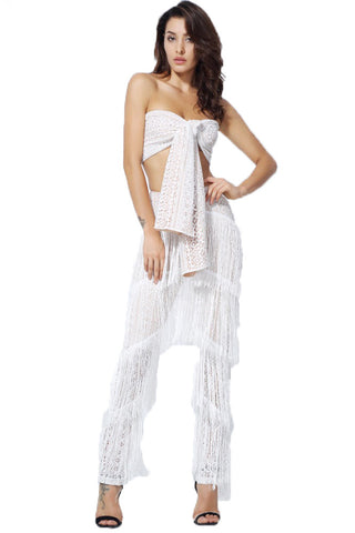 White Lace Strap With Ruffle Tassel Two Piece