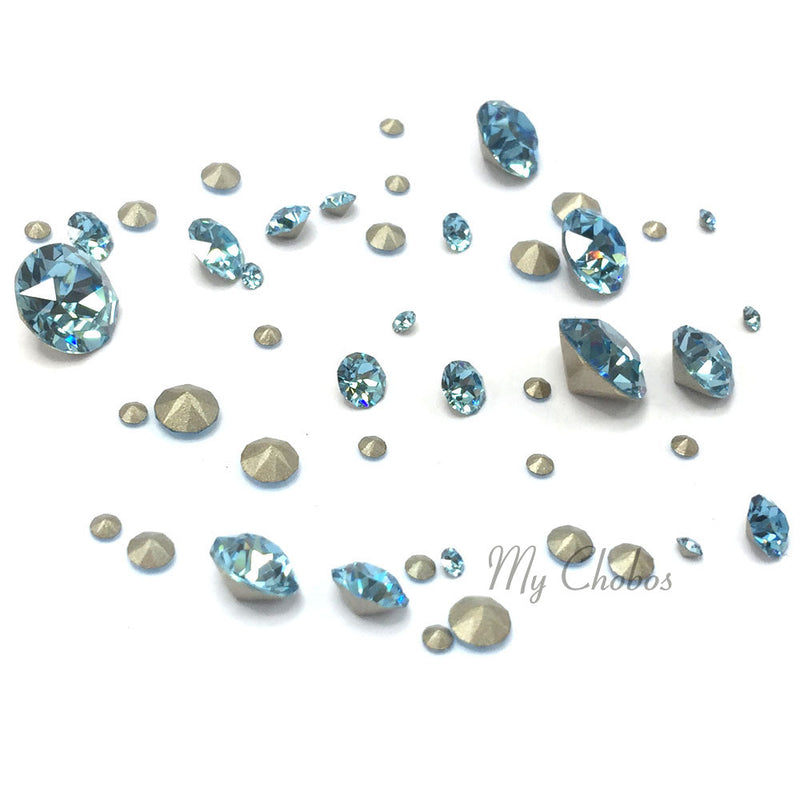 1088 Swarovski Chaton & Round Stones Mix Sizes, Aquamarine (202)