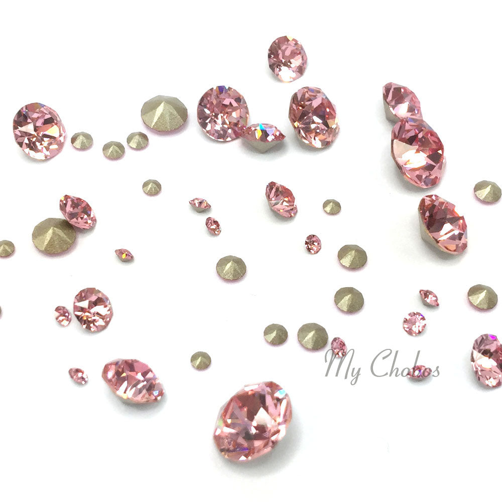1088 Swarovski Chaton & Round Stones Mix Sizes, Light Rose (223)