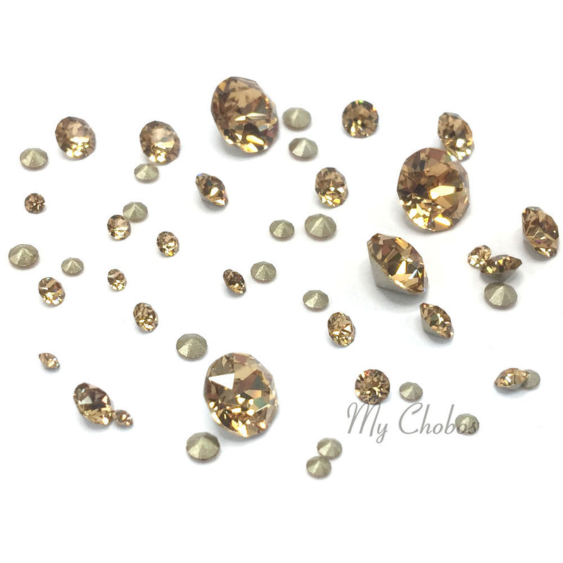 1088 Swarovski Chaton & Round Stones Mix Sizes, Light Colorado Topaz (246)