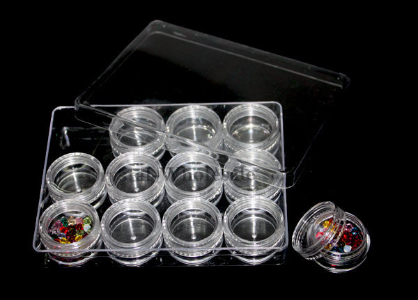 Beads Rhinestones Storage Plastic Case 12 Interlocking