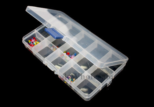 Beads Rhinestone Storage Plastic Box Case with 15 Slots