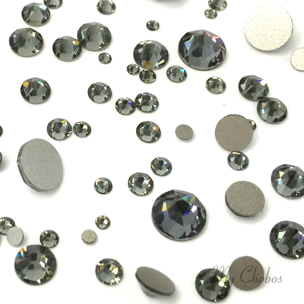 2058 & 2088 Swarovski Flatback No Hotfix Mix Sizes, Black Diamond (215)