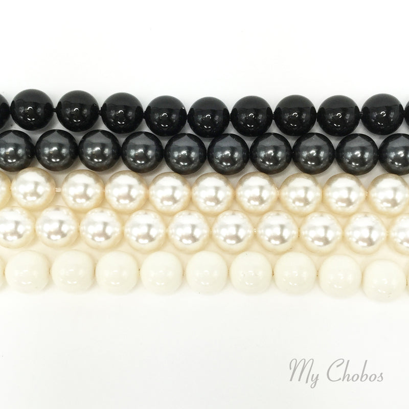 5810 Swarovski Round Pearls, Black & White Mix Colors