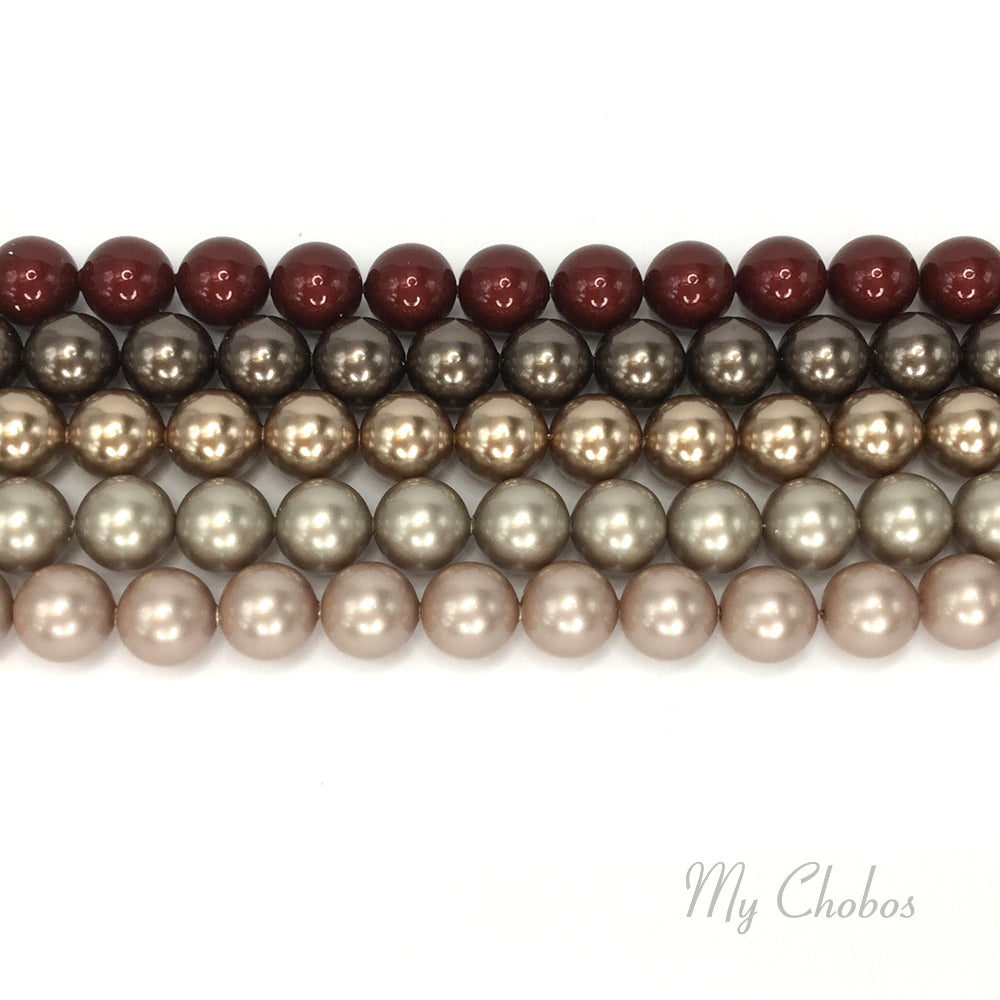 5810 Swarovski Round Pearls, Bronze Brown Mix Colors