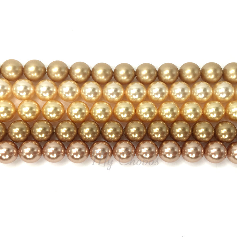 5810 Swarovski Round Pearls, Gold Mix Colors