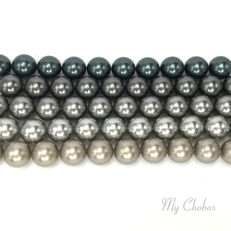 5810 Swarovski Round Pearls, Grey Mix Colors