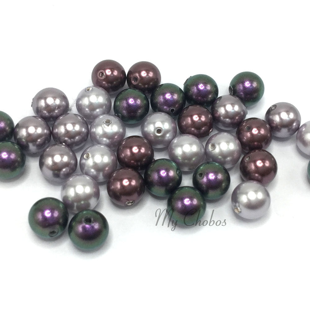 5810 Swarovski Round Pearls, Purple Mix Colors
