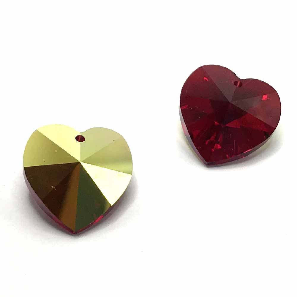 6202 Swarovski Heart Pendants 18 x 17.5mm, Siam AB (208 AB)