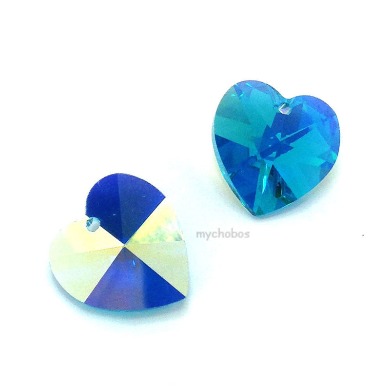 6202 Swarovski Heart Pendants 14.4 x 14mm, Blue Zircon AB (229 AB)