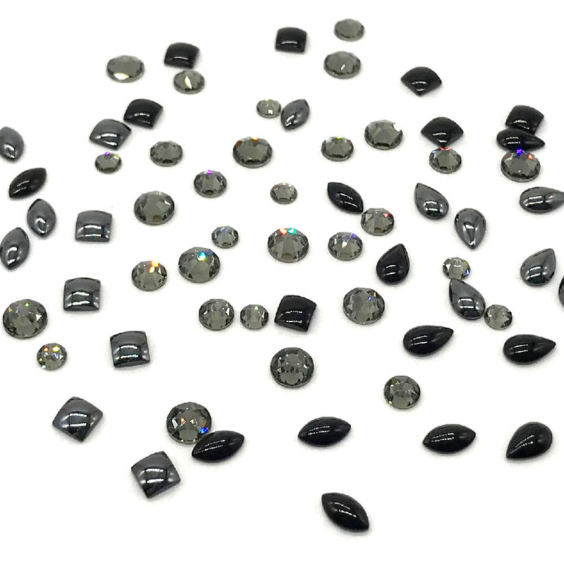 2088 Swarovski Flatback No Hotfix with Cabochon Mixed Shapes, Black Color Combo