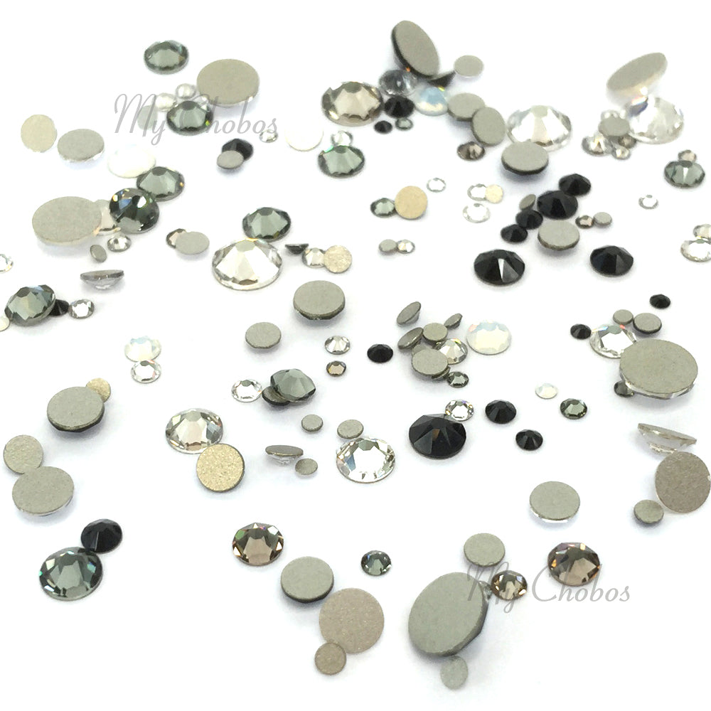 2058 & 2088 Swarovski Flatback No Hotfix Mix Sizes, Black White Mix