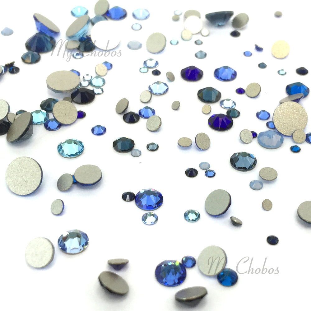 2058 & 2088 Swarovski Flatback No Hotfix Mix Sizes, Blue Mix