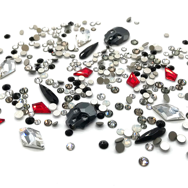 100 pcs Assorted Mixed 2058 XILION Round & Special Shaped Flatbacks No-Hotfix for Nail Art, black DEVIL Color