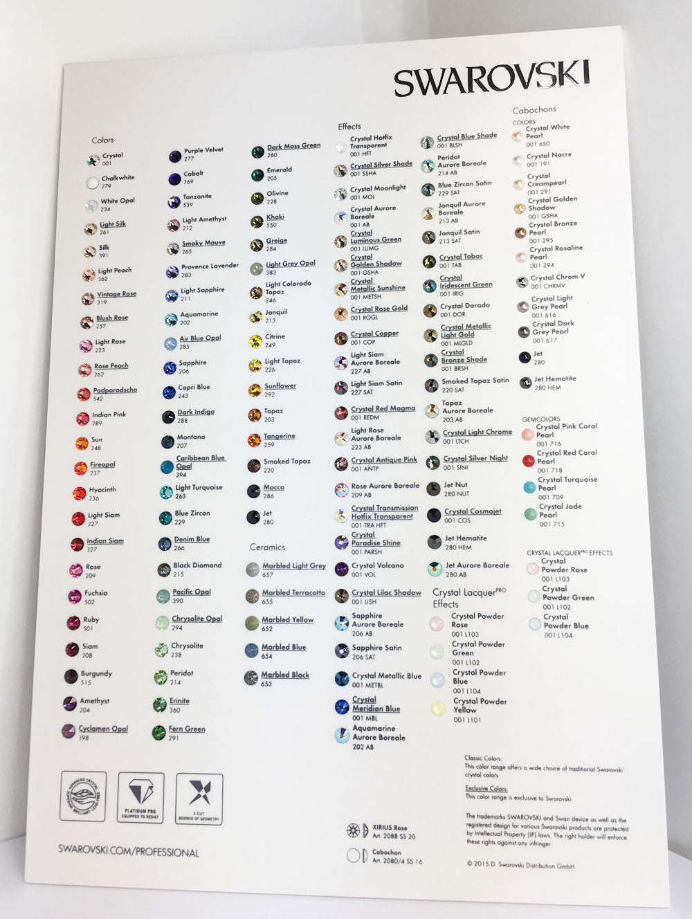 Swarovski 2088 XIRIUS Flat Backs Crystal Original Color Chart 2015 Version