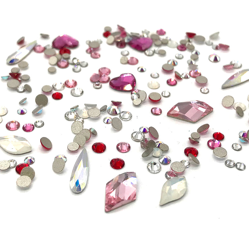 100 pcs Assorted Mixed Swarovski 2058 XILION Round & Special Shaped Flatbacks No-Hotfix for Nail Art, pink LOVE Colors