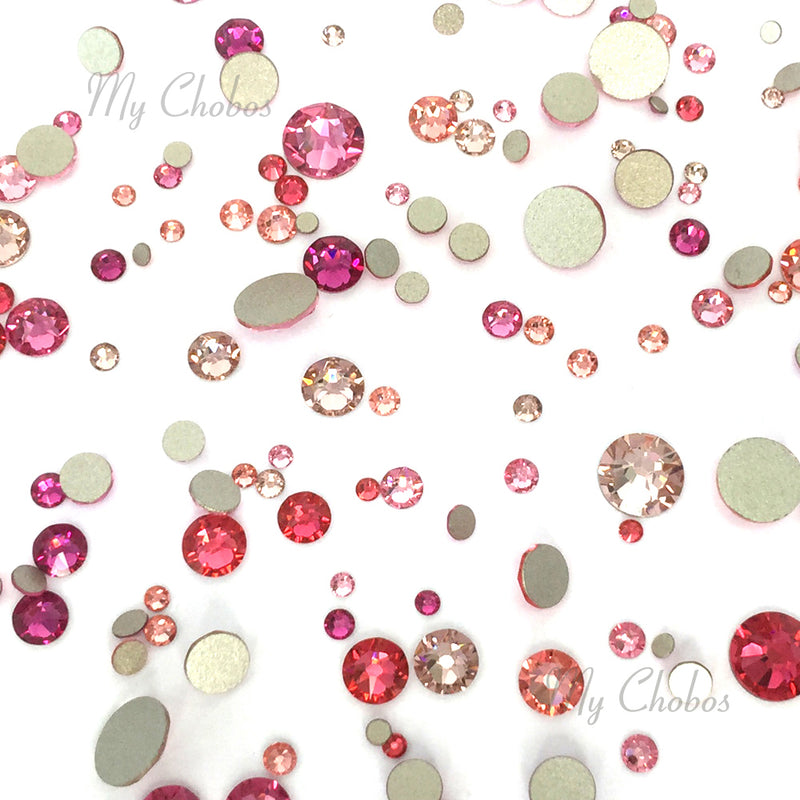 2058 & 2088 Swarovski Flatback No Hotfix Mix Sizes, Pink Mix