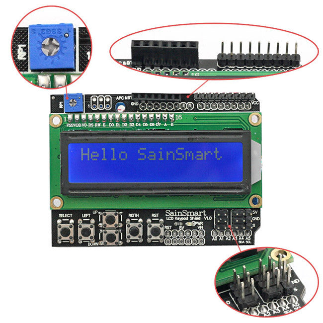 SainSmart Keypad Shield 1602 LCD Module V3 Display For Arduino MEGA