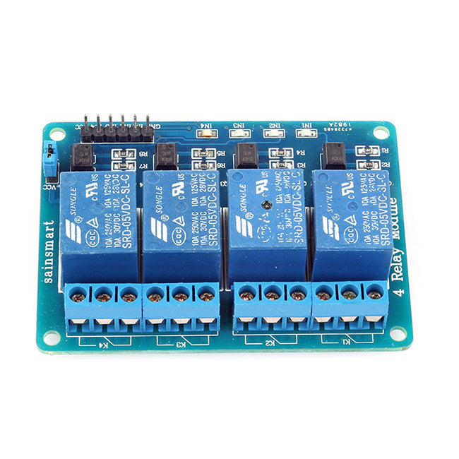 SainSmart 4-Channel 5V Relay Module for Arduino Raspberry Pi ... on relay module connections, relay module connector, relay module arduino, switch wiring, keypad wiring, relay module circuits, ignition coil wiring, control panel wiring, starter wiring,