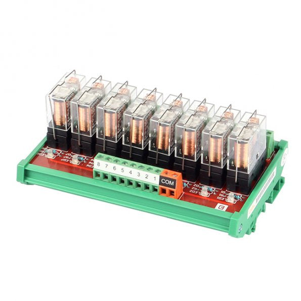 SainSmart DIN Rail Mount 8 SPDT 16A Power Relay Interface Module DC 12V OMRON GBL-8L1-12V Relay