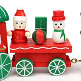 SainSmart Jr. 4 Piece Wooden Xmas Train Ornament Gift Toy Red Christmas gift