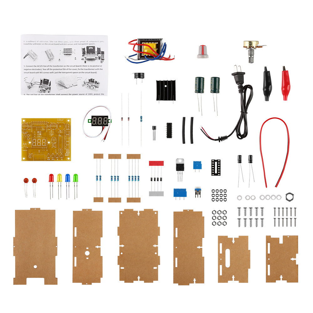 New 110V DIY LM317 Adjustable Voltage Power Supply Board Kit With Case