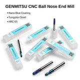 Genmitsu CNC Ball Nose End Mill, 2 Flutes, 4mm Shank, 2.0mm Radius, 4.0mm Cut Diameter