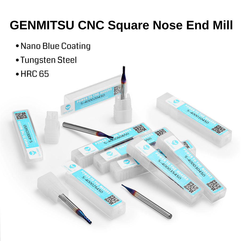 Genmitsu CNC Square End Mill, 4 Flutes, 4mm Shank, 1.0mm Cut Diameter