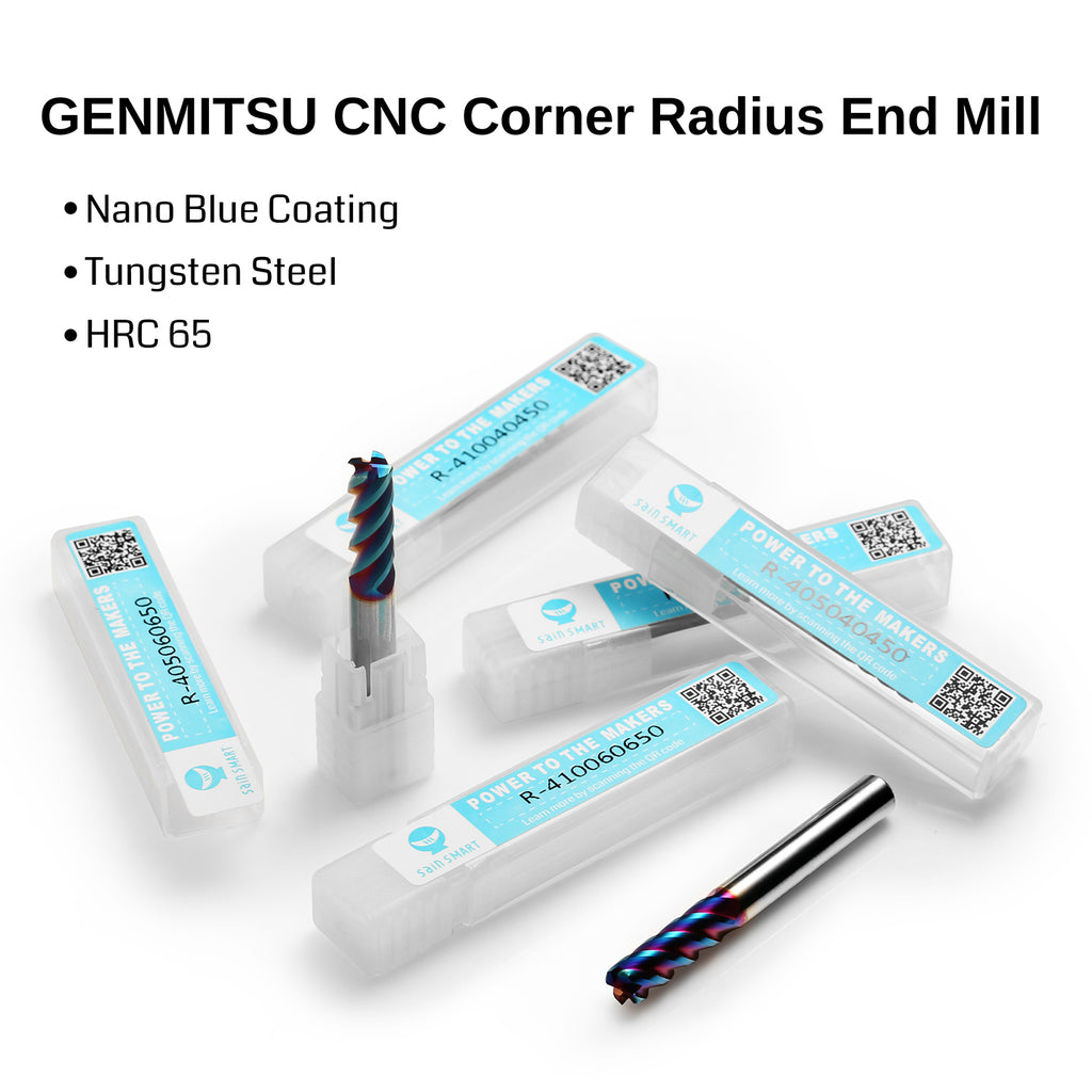 Genmitsu CNC Corner Radius End Mill, 4 Flutes, 6mm Shank, 1.0mm Radius, 6.0mm Cut Diameter