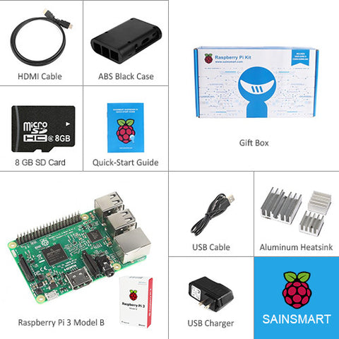 Raspberry Pi 3 -QUAD Core Black Case SD Heatsink HDMI Complete Kit –(2016 Model)