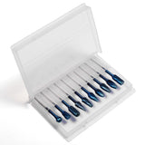 "Genmitsu 1/8"" Shank, 1/4"" Head 10-PCS Nano Blue Coat Tungsten Carbide Steel Alloy Rotary Burrs Bit Set, RR10B"