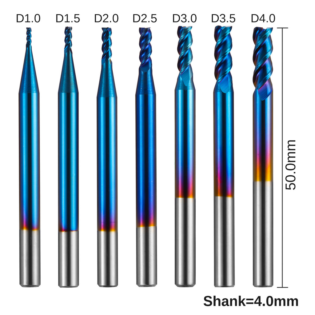 Genmitsu 3-Flute Square End Mill for Aluminum Applications 7-Pack, 4mm Shank, SN07A