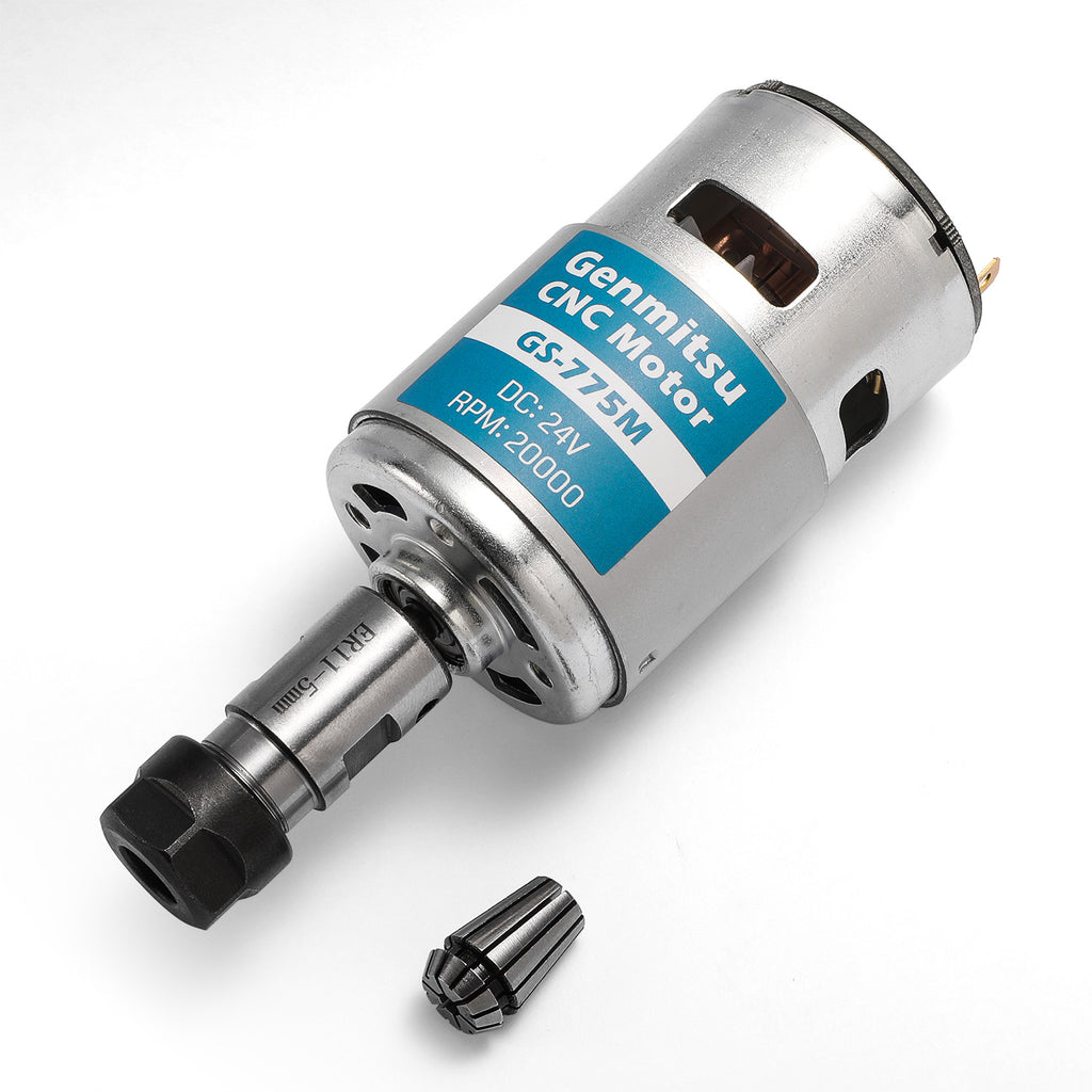 Genmitsu GS-775MR 24V 20,000 RPM Spindle + Collet Holder + Motor Noise Suppression, for 3018 Series