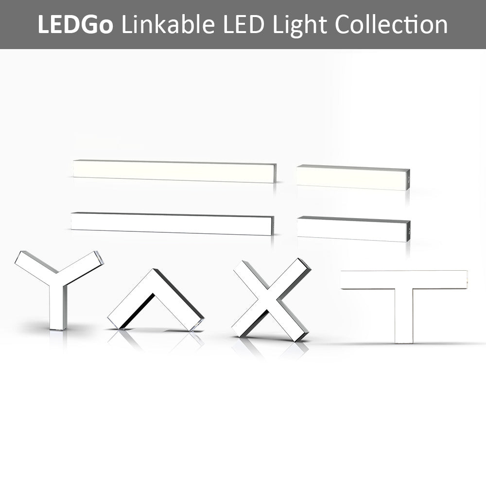 Linkable LED Light System 6 Pack Combo Set, Shape [T] and Straight, 5000K Cool White