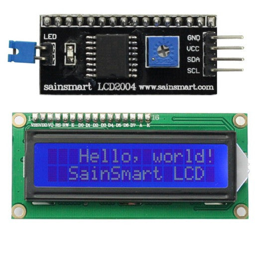16x2 IIC/I2C/TWI Serial LCD Display, White on Blue