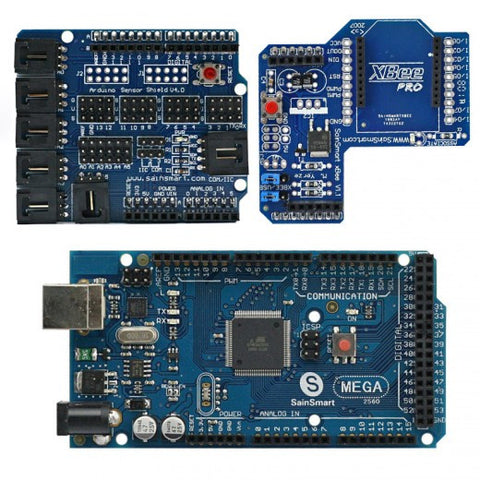 SainSmart MEGA, ATmega2560 + SainSmart Sensor Shield V4 + SainSmart XBee Shield For Arduino