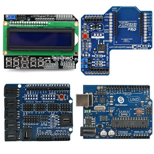 SainSmart UNO + SainSmart LCD Keypad Shield + SainSmart XBee Shield + SainSmart Sensor Shield V4 For Arduino
