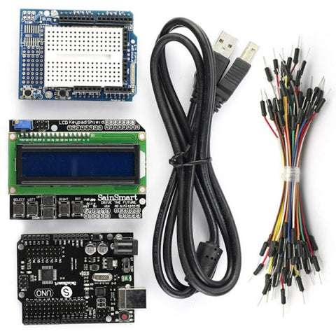 SainSmart UNO R3+1602 LCD Keypad+Prototype Shield Kit for Arduino AVR ATMEL ATMEGA R3