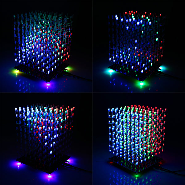 3d Squared Diy Kit 8x8x8 5mm Led Cube White Led Blue