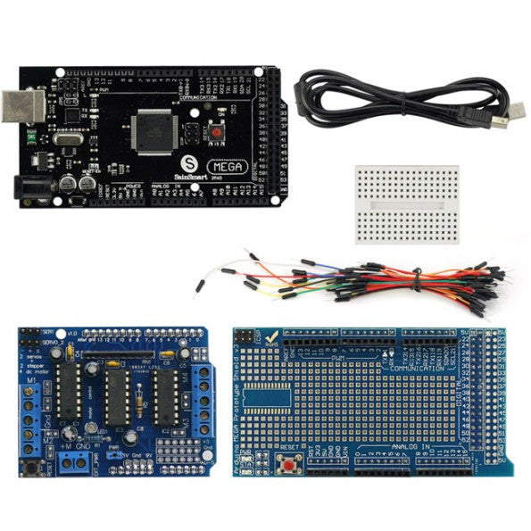 SainSmart  Mega2560 R3+Prototype Shield(with Breadboard Jump Wires) + L293D Motor Drive Shield For Arduino