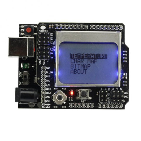 SainSmart UNO R3 Improved Version +SainSmart Graphic LCD4884 Shield For Arduino