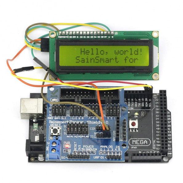 SainSmart Mega2560 R3+ SainSmart Sensor Shield V5+IIC 1602 Y-G Module Display For Arduino Robot