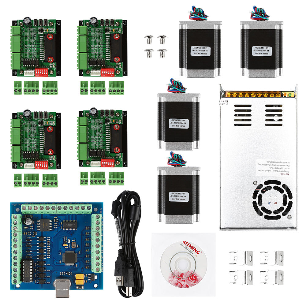 CNC 4-Axis Kit wtih NEMA-23 Motor & Driver Board & Power Supply